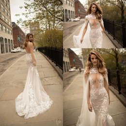 Capes winter wedding dress online shopping - Gorgeous Boho Mermaid Wedding Dresses Plunging V Neck Illusion Bodice Sleeveless Open Back Applique Bridal Gowns with Sheer Cape