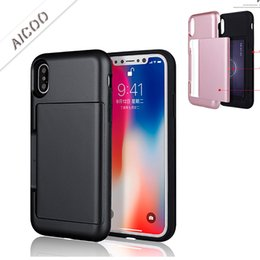 $enCountryForm.capitalKeyWord NZ - Dual Layer Hybrid 2 in 1 Slide Card Slot Case Shockproof Protector Cases Cover for iPhone X 8 7 6 6s Plus Sumaung Galaxy S8Plus OPP