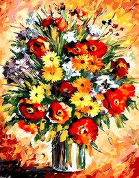 Dpf online shopping - DPF DIY Oil Painting By Numbers Frameless Paint On Canvas Wall Pictures For Living Room Wall Art Home Decor Flowers vase gift
