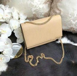 plain cream NZ - 2018 new style Genuine leather women fashion clutch Cream Caviar Leather gold chain Cross body shoulder Bag