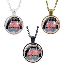 Venta al por mayor de Collar de la morsa colgante de accesorios de vidrio Cabochon Creativo DIY regalos de la joyería unisex