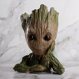 Chinese  New Fashion Guardians of The Galaxy Flowerpot Baby Groot Action Figures Cute Model Toy Pen Pot Best Christmas Gifts For Kids manufacturers