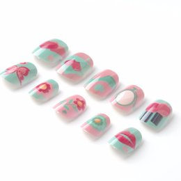 little kits 2019 - New Candy Lives Children Fake Nails Pre-glue 20 Pcs Pink Blue Nail Tips Press on for Little Girls Kits patch for Finger
