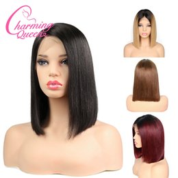 Two Toned Bob Hairstyle Wigs Australia - Lace Front Human Hair wigs Bob Wig Ombre Two Tone T1B 30 Straight Brazilian Virgin Hair 130 Density Natural Hairline Glueless Bleached Knots