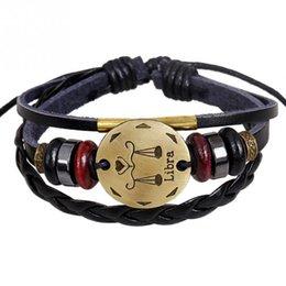 Libra jeweLry online shopping - Men s Constellation Bracelets Bead Cowhide Alloy Libra Pattern Bracelet Jewelry