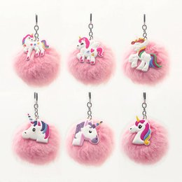 Artificial Chains Wholesalers Australia - Colorful Fluffy Unicorn Keychain Pompom Artificial Fox Fur Cartoon Key Chain for Women Bag Pendant Car Keyring Fashion Jewelry#S