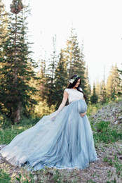 Chinese  Maternity Empire Tulle Wedding Dresses Bohemian Style A-Line Short Sleeve White and Blue Lace Bridal Gowns Vestido De Novia 2019 New W263 manufacturers