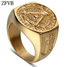 Discount women masonic ring - ZFVB Classic Freemason Rings Women 316L Stainless Steel Bling Gold colour Masonic Signet Ring for Men Hip Hop Charm Jewe
