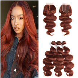 Color 33 hair extensions online shopping - Copper Red Hair Bundles Auburn Hair Bundles With Lace Closure Body Wave Brazilian Human Virgin Hair Extension Bundles With Top Closure