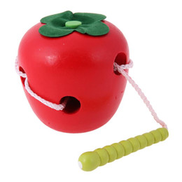 $enCountryForm.capitalKeyWord UK - The Caterpillar Eats The Apple Montessori Beaded String Wearing Rope Toy Baby Wooden Toys Early Educational Children Gift