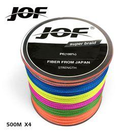 Venta al por mayor de línea de pesca Marca JOF Línea de pesca Multicolor 500m Multifilamento liso PE 4 Hebras Cordón trenzado 18-80LB Tecnología Japón fuerte