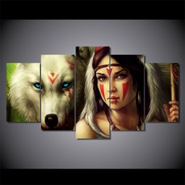 $enCountryForm.capitalKeyWord Australia - 5 Pcs Set Framed HD Printed wolf color face woman Wall Art Canvas Print Poster Canvas Pictures Abstract Oil Painting