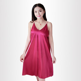China New summer ladies sexy silk nightgown sling thin night dress female all-match Home clothing women Breathable nightgown cheap wholesale silk clothing women suppliers