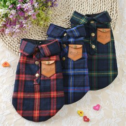 Collared dog shirts online shopping - Pet Dog Clothes Shirts Coats Lattice Collar Puppy Vest For Small Dogs Cloth Pets Coat Outfit Ropa Para Perros md gg
