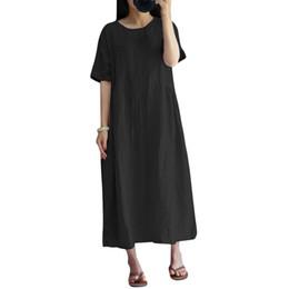 Sexy Women Summer Dress Vintage O Neck Short Sleeve Casual Loose Dress Robe  Femme Long Maxi XXXL 4XL 5XL Plus Size Cotton Dress 393931581