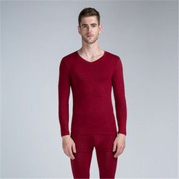 Men Modal Long Johns Autumn Winter thin Cotton Cute red gray Thermal Underwear sets High waist good elasticity tops and Pants on Sale