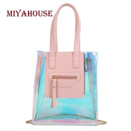 korean girls fashion handbags Canada - Miyahouse Candy Color Laser Handbags Female Fashion Jelly Shoulder Bag Korean Women PVC Transparent Bag Girls Messenger Bags
