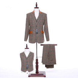 $enCountryForm.capitalKeyWord UK - Jacket+Pants+Vest Brown Plaid Ladies Pants Suit Women Business Suits Two Button Formal Office Uniform Style Female Trouser Suits