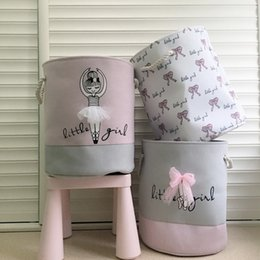 Discount baskets for clothes storage - 35*40cm Pink Laundry Basket for Dirty Clothes Cotton Ballet Girl Bow Print Toys Organizer Home Storage & Organization