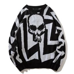 Round Neck Loose Style Skull Sweater Men 2018 Winter High Street Oversized  Men s Sweater Black White 58d779f7e