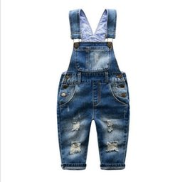 jeans jumpsuit kids Australia - New Kids Denim Jumpsuit Boys Girls Strap Clothing Spring Autumn Fashion High Quality Cave Jeans Children Clothing For 2-8yrs