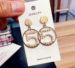 $enCountryForm.capitalKeyWord NZ - Chic Number 5 Flower Earrings Crystal Pearl Dangle Drop Eardrop Ear Studs Women Girl Wedding Party Jewelry Accessories