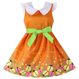 $enCountryForm.capitalKeyWord UK - Shybobbi Girls Dress Orange Coccinella Dot Print 100% Cotton Sundress Party Casual Baby Kids Clothing