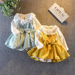 Discount dress girl suit long sleeve - Cola baby girls dress spring autumn toddler lovely cotton long sleeve dress suits for girl infant princess 2pcs clothes