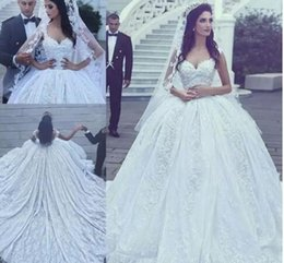 $enCountryForm.capitalKeyWord NZ - 2017 New Arabic Style Luxury A-line Wedding Dresses Lace Appliqued Beaded Chapel Train Ball Gown Princess Lace Vestidos De Novias