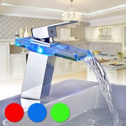 Fitted Kitchens Australia - New Kitchen Garden Bathroom Basin Beautiful Led Glass Waterfall Faucet Mixer Tap Drop shipping