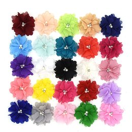China 35 pcs  lot ,7.5CM NEW chiffon flower with pearl rhinestone for hair accessories headwear headband DIY supplier 35 hair suppliers