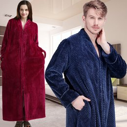 Women Winter Extra Long Thick Warm Bath Robe Plus Size Zipper Luxury Flannel  Peignoir Pregnant Bathrobe Men Coral Fleece Robes 2fb1f2173