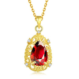 $enCountryForm.capitalKeyWord Australia - Ruby Teardrop Pendant Chain 18k Yellow Gold Filled Womens Pendant Necklace Fashion Jewelry Beautiful Female Gift