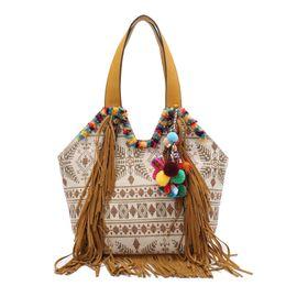 Embroidered Women cotton fabric Bohemian tassel Handbag canvas summer Ethnic  shoulder Bag cross body hippie massager bags b2a527b28e3db