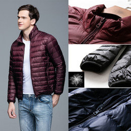 cc2ce84b73f Duck Down Jacket Men s Feather Ultralight Down Packable Reversible Jacket  For Men Parka Outwear With Carry Bag Overcoat Male