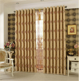 Discount kitchen curtains designs Thick Double-Sided Printing Wavy Striped Design Blackout Curtain For Living Room Bedroom Window Drapes Treatment Home De