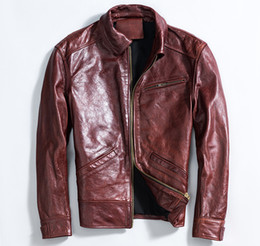 mens vintage leather motorcycle jackets Canada - New arrival Mens Slim motorcycle jacket vintage first layer of genuine leather outwear Motor coats winered