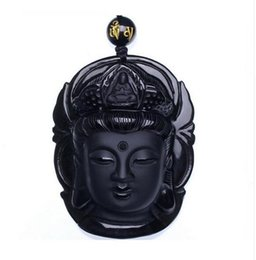 plastic circles UK - Curtain jewelry Obsidian Scrub Pendant Black Guanyin Head Pendants Transhipped Buddha Head