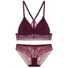 1411ab4a40 Full lace bralette Beauty back pack women sexy underwear sets transparent  bra sets comfortable sleep lingerie deep-v intimates