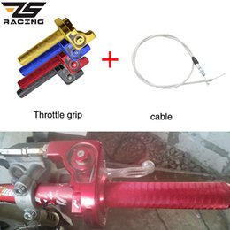 cable grips Canada - ZS Racing Grips Settle Twist Throttle Clamp Aluminum With Throttle Cable For Motorcycle Pit Dirt Bike Motocross ATV Off Road