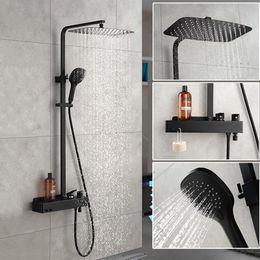 Contemporary bath fauCets online shopping - Matt Black Bathroom Rain Shower Set System Wall Mounted Mixer Bath Shower Faucet With Hook And Placement Platform
