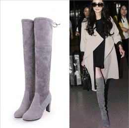 983438f7b58 Grey suede knee hiGh boots online shopping - Faux Suede Slim Boots Sexy over  the knee