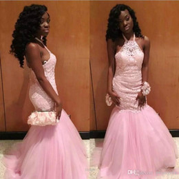 $enCountryForm.capitalKeyWord Australia - Vintage African Pink Prom Dresses Halter Guest Dress Pink Sleeveless Mermaid Black Girls Lace Appliques Top Party Evening Gowns