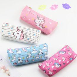 $enCountryForm.capitalKeyWord Canada - 4 Style Unicorn Canvas Pencil Bag Cartoon Pencil Cases Stationery Storage Organizer Bag School Office Supply Kids Gift top quality
