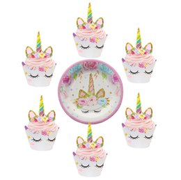 Discount horse cupcake - Unicorn Party Horse Cupcake Topper+Wrappers Paper Plate Baby Shower Birthday Party Decoration Kids Supplies
