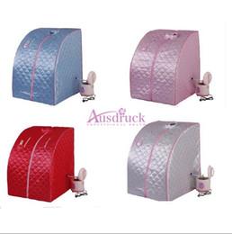 Vente en gros 2015 nouveau imperméable pliable à la vapeur chaude désintoxication sauna sauna amincissant la boîte de poids perte de soins de santé beauté équipement rose bleu argenté rouge couleur