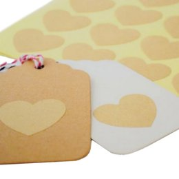 Blank kraft stickers online shopping - 120pcs sheet Blank Kraft Heart Sticker for Handmade Products DIY Gift Point Sticker For Party Favor Gift Bag Candy Box Decor