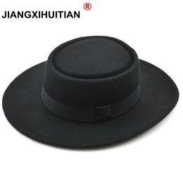 GD Nuevo 2017 Moda de alta calidad 100% lana de Australia Sombrero Fedora  de los hombres con sombrero de pastel de cerdo para fieltro de lana clásico 8b50f2bdc13