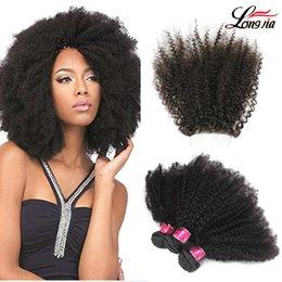 afro hair extensions bundles 2019 - Peruvian Afro Kinky Curly Hair bundles afro kinky virgin hair with free part 4*4 closure Indian afro kinky human hair ex