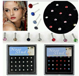 Classic Nose Rings NZ - 24Pcs Set Nose Nail Rings Puncture 2mm Stainless Steel Nose Nail Boxed Anti-Allergic Rings And Studs Body Jewelry Piercing Jewelry Wholesale